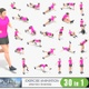 30 animations of woman exercise on white background, MP4 and GIF files, LOOPED