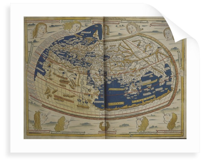 World map from Ptolemy s Cosmographia of 1492 posters   prints by     World map from Ptolemy s Cosmographia of 1492 by Ptolemy