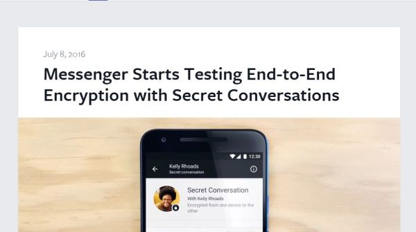 Facebook starts end to end encryption on Messenger app