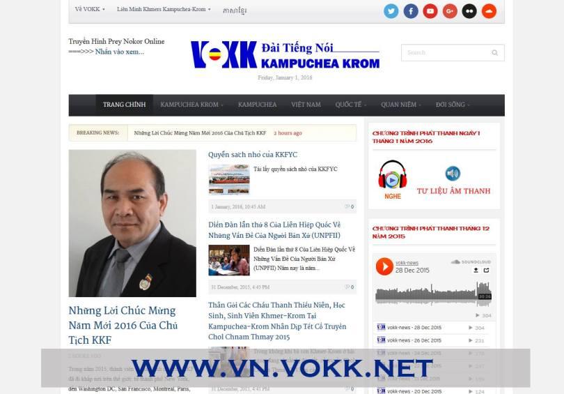 គេហទំព័រវិទ្យុសំឡេងកម្ពុជាក្រោម ជាភាសាវៀតណាម។ Screenshot from vn.vokk.net