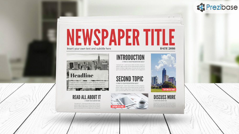 3D Newspaper Prezi Template   Prezibase 3D newspaper prezi presentation template