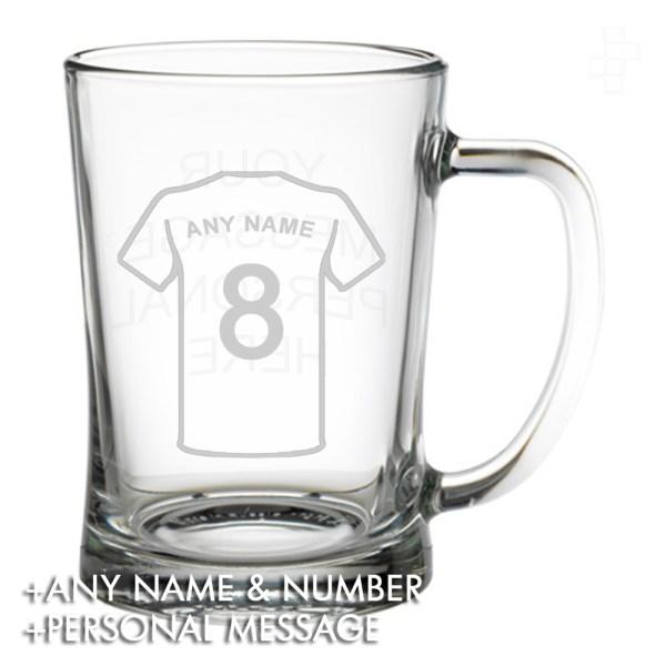 PERSONALISED FOOTBALL SHIRT PINT GLASS