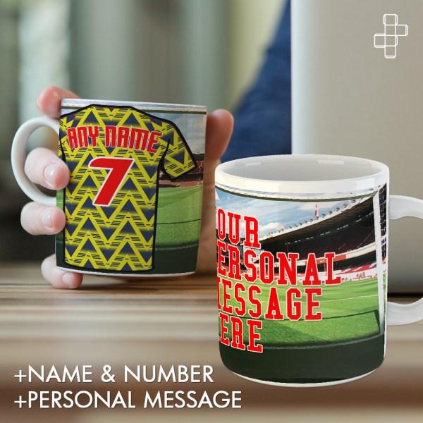 Personalised Retro 1991 Arsenal Away Shirt Mug