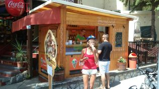 leaving Balatonfüred with a visit to Tamás' brother's icecream stand