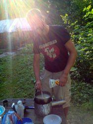 Cooking mushroom polenta
