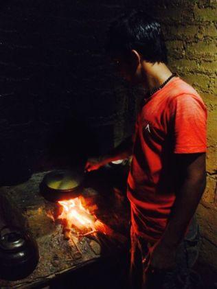 Sameer cooking dinner