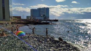 Koreans taking a swim