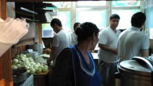 The small Uzbek snack place at the train station