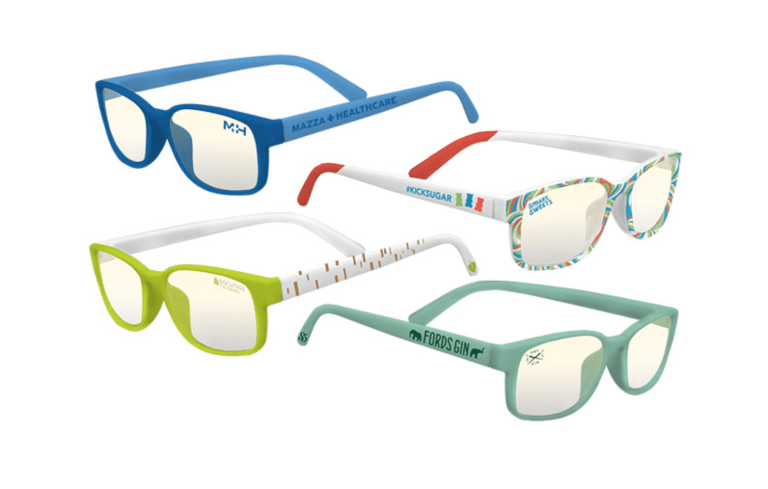 Four different custom imprinted and logo examples of blue light filtering glasses to protect eyes that are spending significant time working online looking at a computer screens or any device.