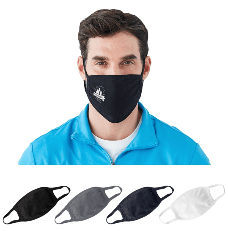Man wearing a black 2 layer cotton jersey face mask. Under his image are pictures of all available colours - black - dark charcoal - dark navy - white.