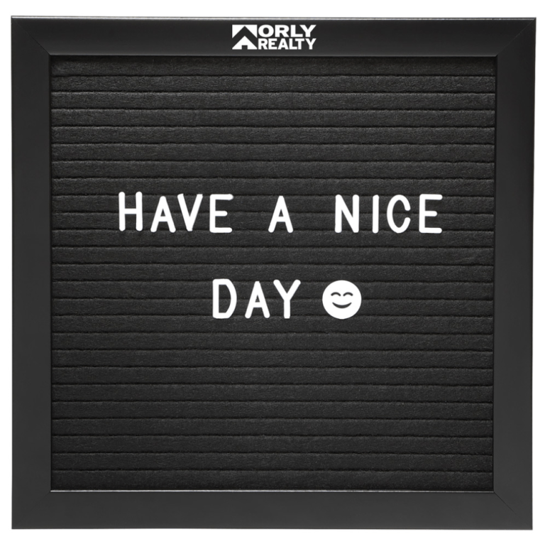 Black Felt board with custom company imprint at top boarder in white.  White letters in two rows on the black felt that say - Have a nice day - smiling emoji face.