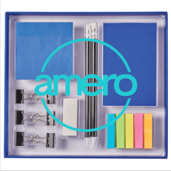 Office supply kit for new hires that contains one mechanical pencil, one ballpoint pen, one eraser, one colour matching notepad and sticker set and one small sticky flag set in five colours. All are in a clear top plastic case.