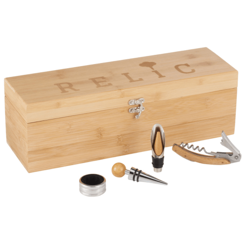 A corporate branded bamboo wine case with tools including - wine opener, pour spout, stopper and neck ring.