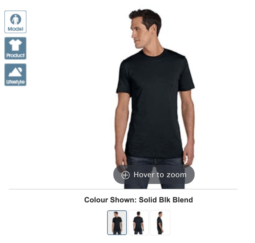 Image of a man modelling a black Bella + Canvas Unisex Heather T-shirt from Alphabroder.