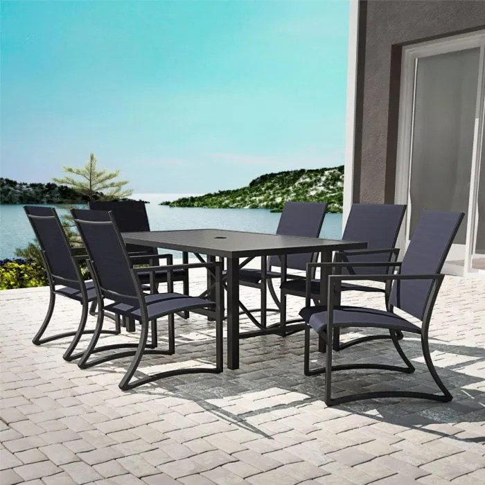 cosco capitol hill 7 piece outdoor dining set 6 chairs table navy charcoal
