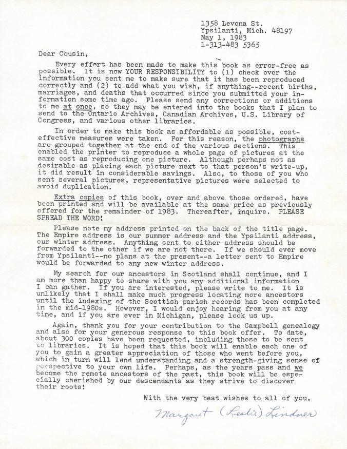 Letter from Margaret Leslie Lindner