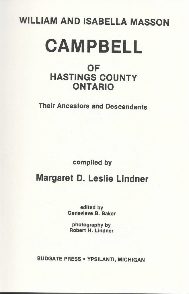 Title page of book Campbell of Hastings County