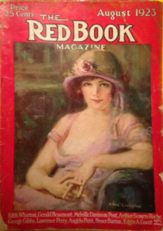 Cover of Red Book Magazine August 1923 showing a young woman in a Cloche hat