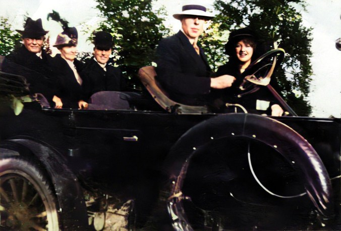 This image has an empty alt attribute; its file name is Photo-of-Joseph-Price-and-family-in-a-1911-Russell-Motor-Car-Enhanced-Colorized.jpg