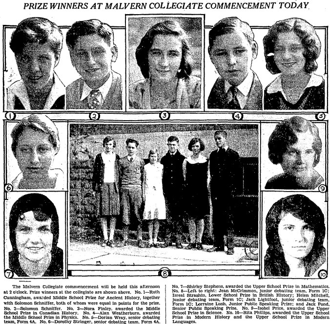 Photos of Prize Winners at Malvern Collegiate Commencement 1930