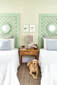 Pastel Trellis Headboard for beach house