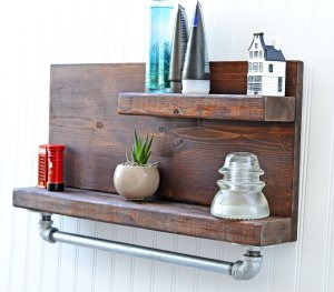 wood work bathroom shelf