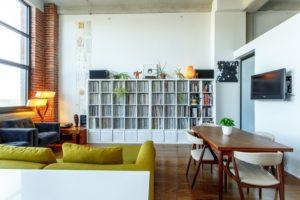white bookshelves in a room