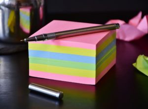 Sticky notes in different colors.