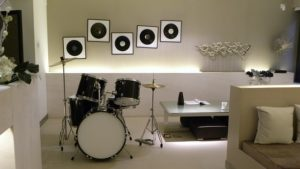 drums in a room