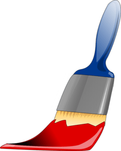 a brush with some red paint