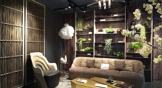 Living room with in modern style. Room furniture, plants. Window case in the background.