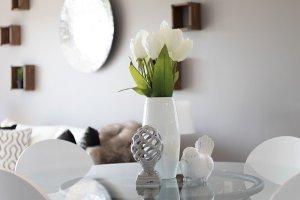 A nice, white, living room.