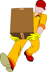 A person carrying a moving box.