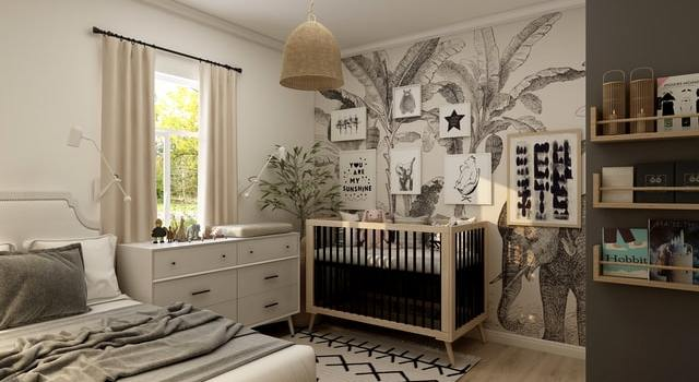 A nursery that's been remodeled from a guest room.