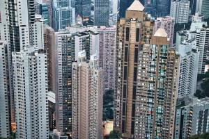 Hong Kong apartment buildings.