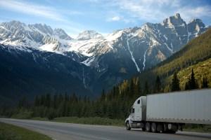 Moving van on the highway.