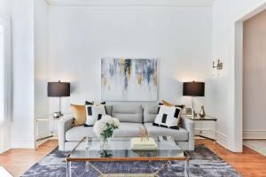 grab sofa and glass table in LA studio
