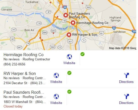 screen shots google search results - business maps listings for roofers