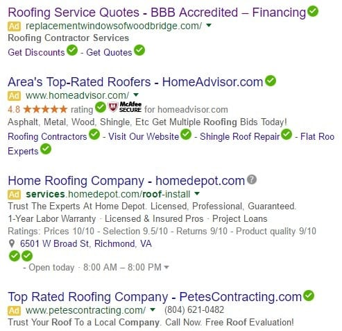 screen shots of paid search ads