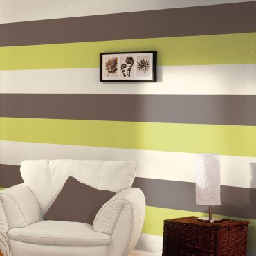 DWA056 - Stripe Wallpaper - Chocolate / Lime / Cream - E40904