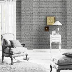 RAS023 - Rasch Dark Grey Brick Effect Wallpaper - 226720