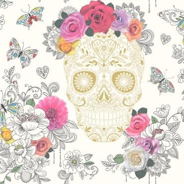 RAS132-Sugar-Skulls-Wallpaper-Cream-Gold-EA