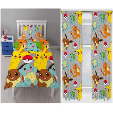 "Pokemon Catch Duvet Cover Set (Available In Single POK003 & Double POK004). Matching Curtains POK006 Available In 54"" and 72"" Drop Length"
