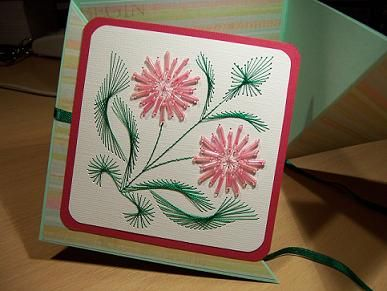 pink beaded flower card
