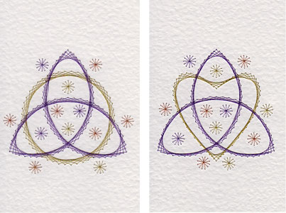 Triquetra patterns at Stitching Cards