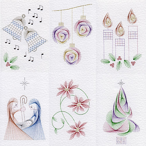 Christmas Patterns Added At Stitching Cards Prick And