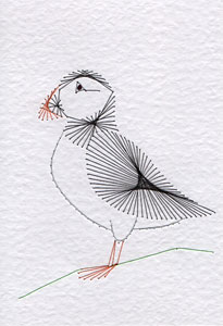 Puffin pattern at Stitching Cards