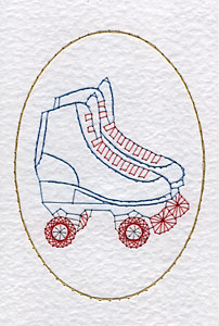 Roller skates pattern at Stitching Cards