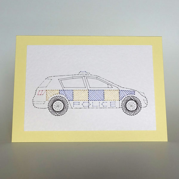 Police car UK colours at Stitching Cards