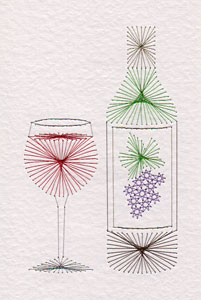 Wine bottle pattern at Stitching Cards